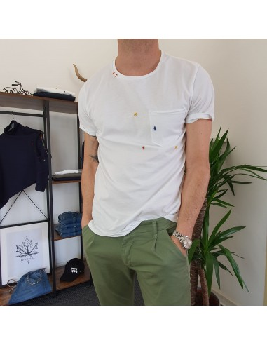 T-shirt ricami bianca