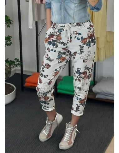Pantalone di cotone a fiori