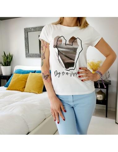 T-shirt cane stilizzato